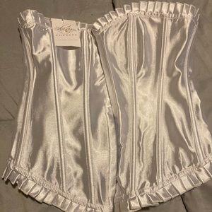 White plastic boned corset